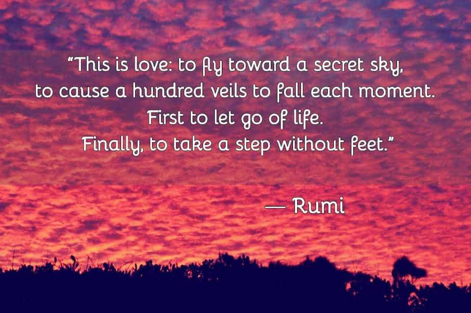 Rumi love poems, love, fly towrads secret sky, step without feet, what is love